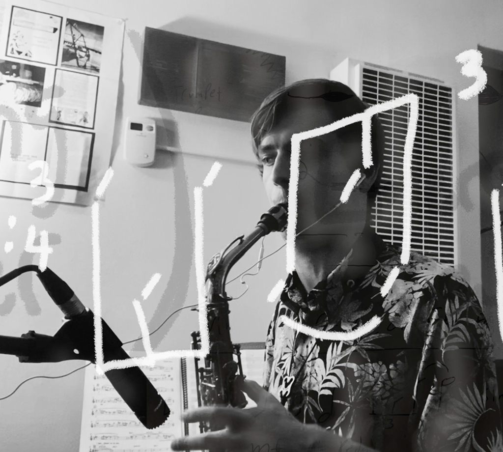 Jazz student playing saxophone with illustration of music notes.